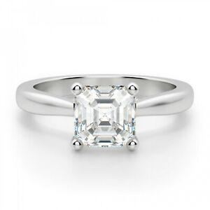 1.50 Ct Asscher Moissanite Engagement Ring 18K Hallmarked White Gold ring Size 6