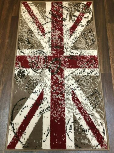 MODERN STAMPED UNION JACK GREAT QUALITY RUGS-MATS 60CMX110C BEIGE CREAM RED