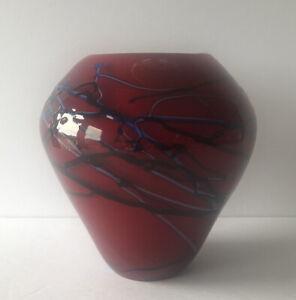 """VIZ GLASS INC. HAND BLOWN ART GLASS RED BLACK BLUE SWIRL WHITE CASED 6"""" VASE"""