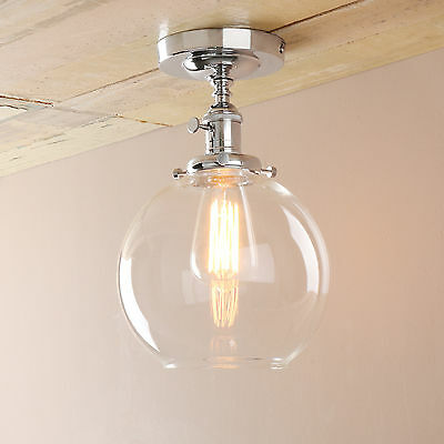 """7.9""""Edison Industrial Flushmount Pendant Light Clear Glass Lampshade W/ a Switch"""