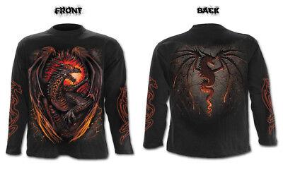 Spiral Direct DRAGON FURNACE Mens Rock//Biker//Goth//Long Sleeve//T Shirt//Clothing