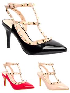 Women-Ladies-PointedToe-Studded-T-Bar-Patent-Stiletto-High-Heel-Court-ShoesUV232