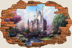 3D-Hole-in-Wall-Fantasy-Castle-Princess-Prince-View-Wall-Sticker-Decal-Mural-941