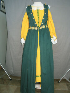 Details About Renaissance Dress Medieval Costume Queen Princess Lady Green Bay Packer Maid