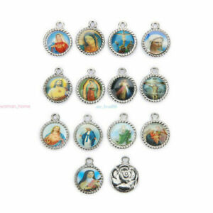50Pcs-Catholic-Religious-Holy-Cross-Enamel-Charms-Medals-Jewellery-Pendants