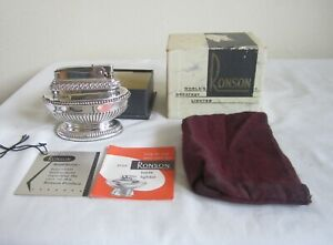 VINTAGE-RONSON-QUEEN-ANNE-SILVER-PLATED-TABLE-CIGARETTE-LIGHTER-IN-BOX-PAPERS-NR