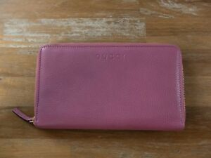 79f0605ca4eb Image is loading GUCCI-pink-zip-around-leather-continental-wallet-New-