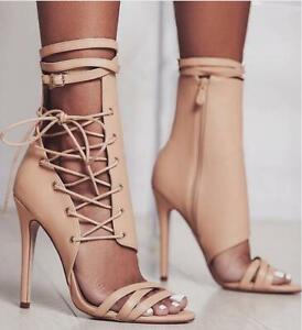 Lateral Tobillo Sexy Mostrar Tacones Mujer Correa Tacón Aguja Detalles Acerca Alto Sandalias De Zapatos Cremallera PyvmN08nwO