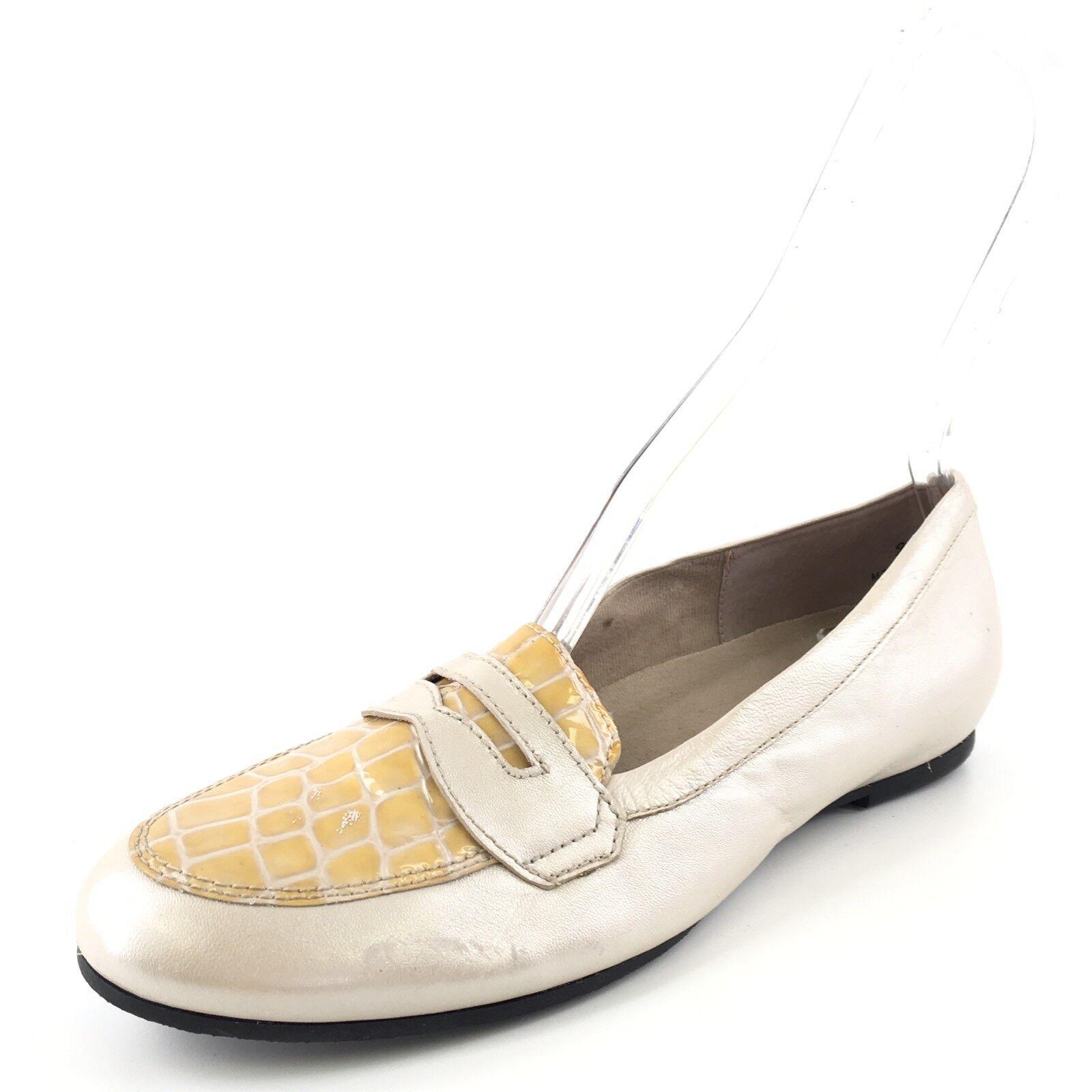Munro American Carrie Bone Leather Bone Croc Penny Loafers Womens Size 9.5 N