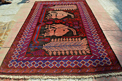 Antiques Generous Vintage Pictorial Tribal Nomad Rug For Wall Hanging,stunning Tribal Kuchi Maldar Attractive Designs;