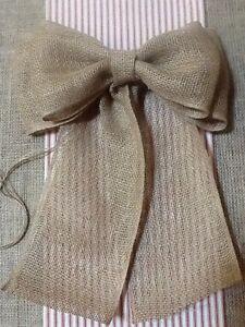 Burlap-Pew-Bow-Rustic-Wedding-Vintage-Chic-Primitive-Wreath-Country