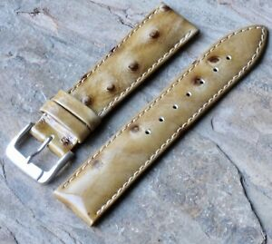 Short-Length-ostrich-pattern-18mm-Genuine-Leather-vintage-watch-strap-1960s-70s