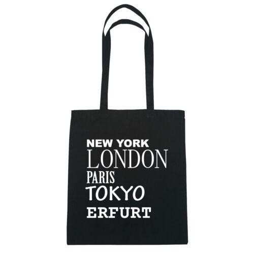 New York, London, Paris, Tokyo ERFURT   - Jutebeutel Tasche - Farbe: schwarz