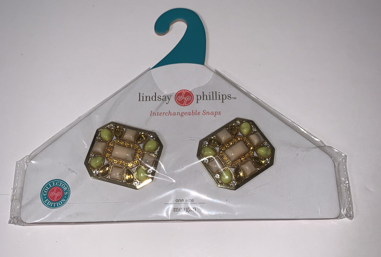 New NIP Lindsay Phillips Snaps Meagan Faux Stones Bling Yellow Peach