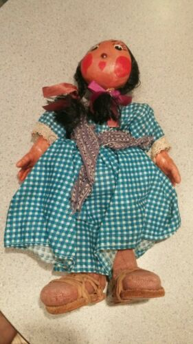 Mexican oil cloth doll woman with baby on back leather woven sandals