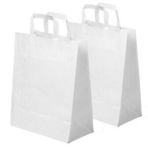 "NEW LARGE WHITE KRAFT PAPER CARRIER BAGS SOS 10""x12""x5.3"" TAKEAWAY FOOD PARTIES"
