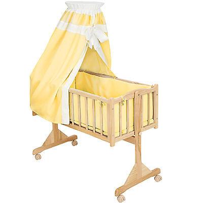 Berceau bébé Lit bébé Berceau à bascule bois+ciel de lit jaune