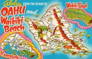 60s Cartoon Hawaiian Map Postcard Oahu