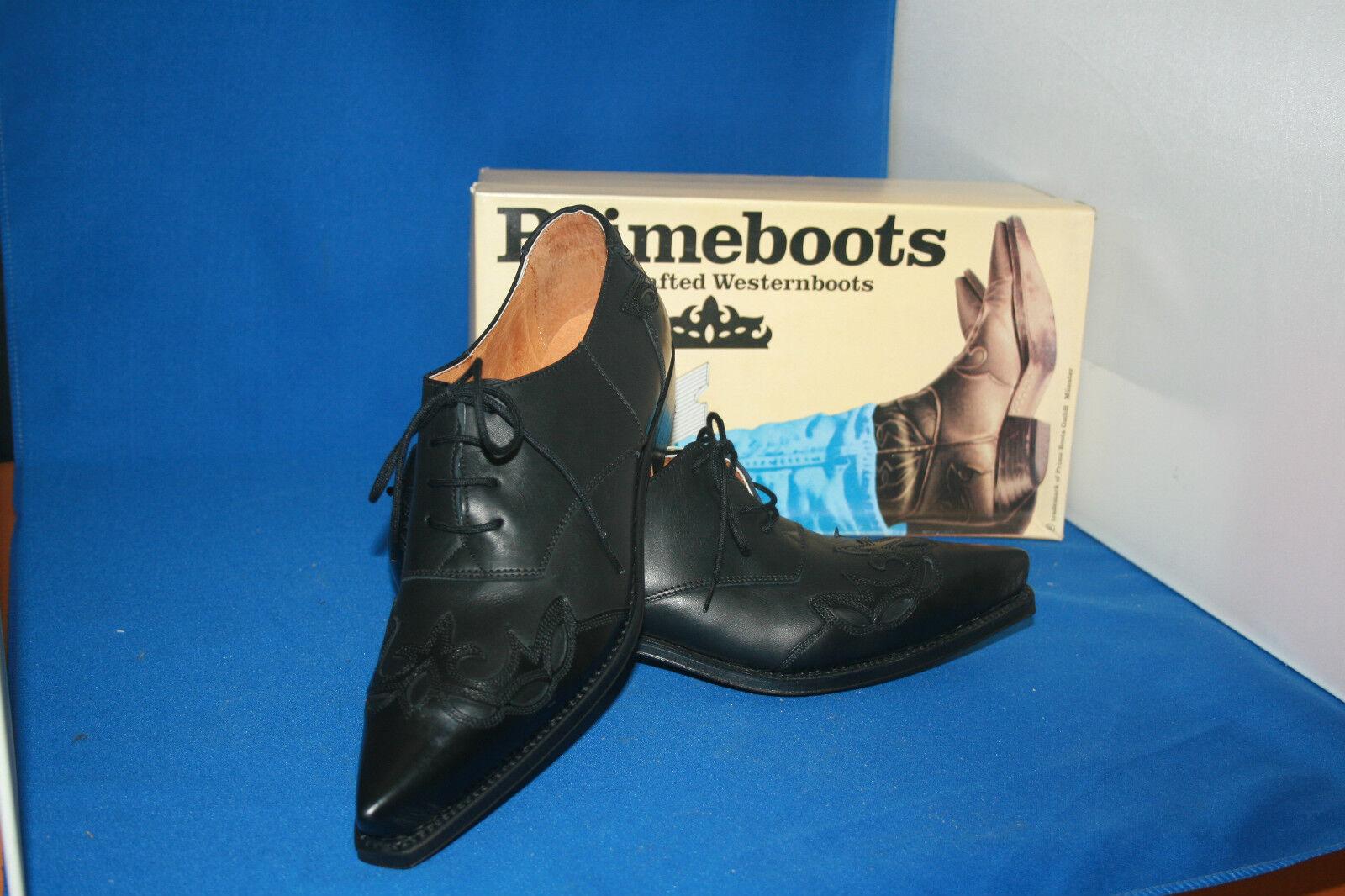 prime boots westernstiefel halbschuh  schnürrschuh  leder neu  gr. 40 schwarz