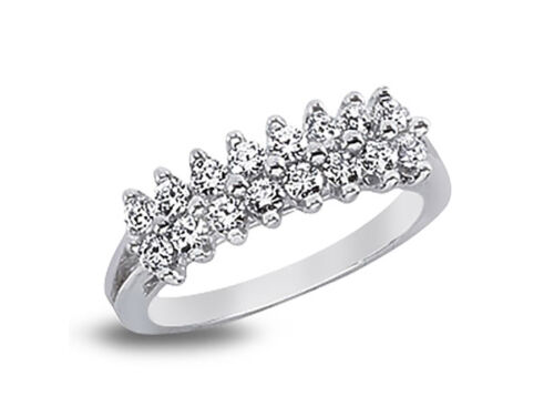 0.48ct Diamond Wedding Band Ring 14k White Gold Round Brilliant Cut Prong H SI2