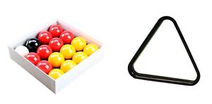 Reds-amp-Yellows-2-034-Size-English-POOL-TABLES-BALLS-1-7-8-034-Cue-Ball-and-TRIANGLE