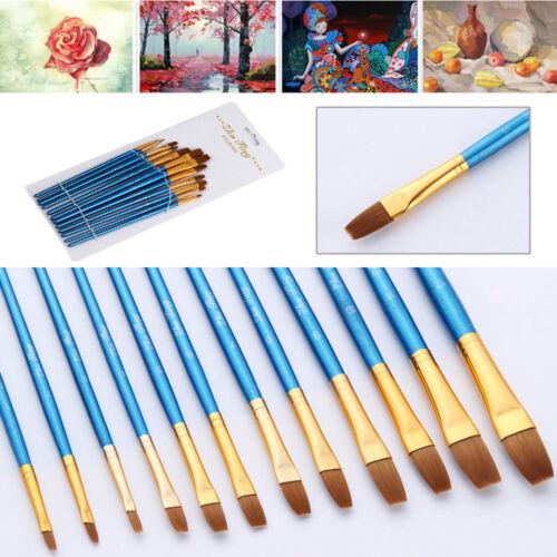 12Pcs//Set Art Painting Brushes Acrylic Oil Watercolor Artist Paint Brush Nylon