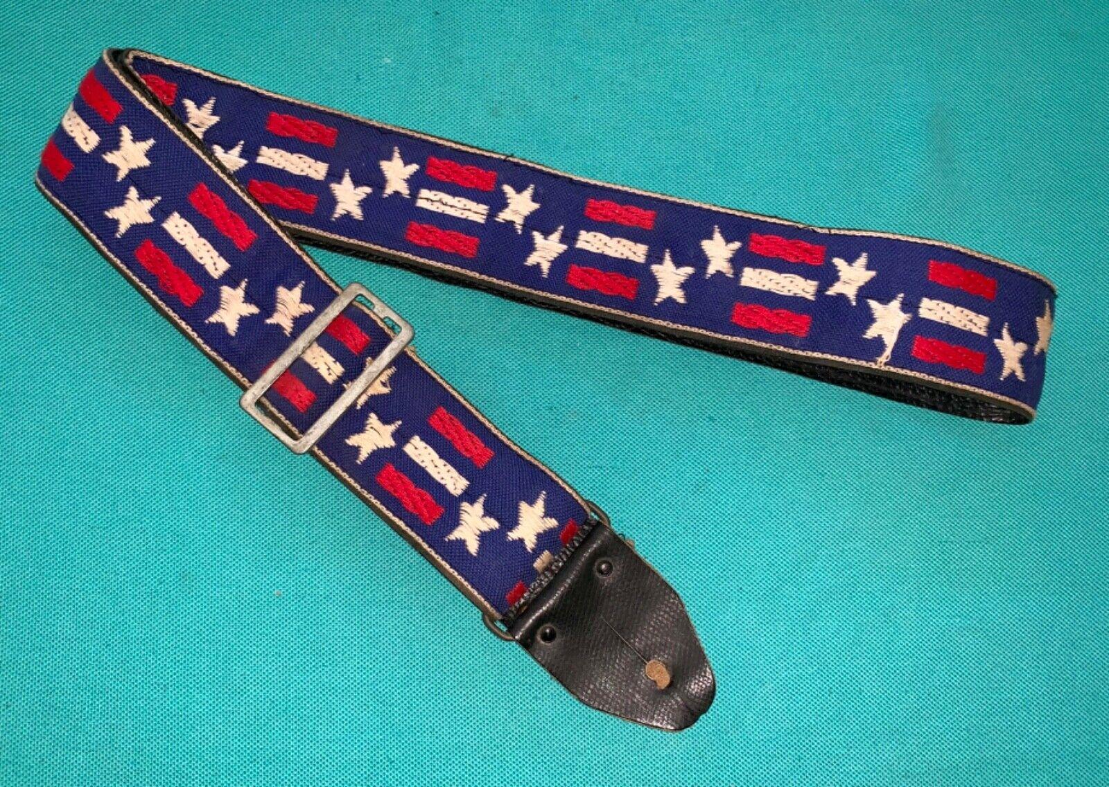 Rare Vtg ACE American Flag Patriotic Pattern Woven Guitar Strap