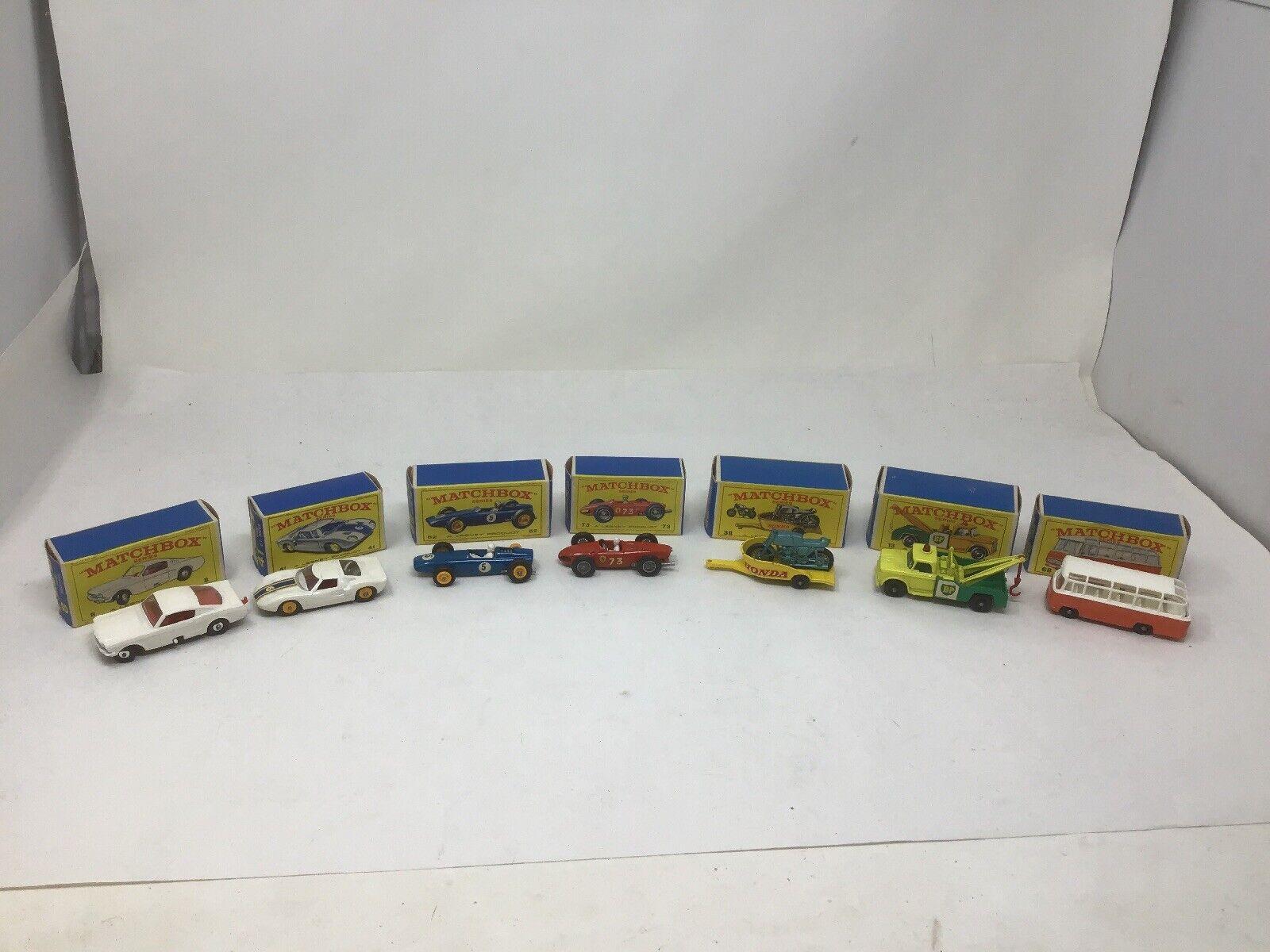 Lot de 7 VINTAGE MATCHBOX LESNEY voitures en boîte MUSTANG FERRARI BRM BP dépanneuse +