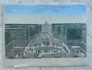 c1790  Antique Watercolor  Vue d'Optique Print Rome Hold-to-light Etching Master