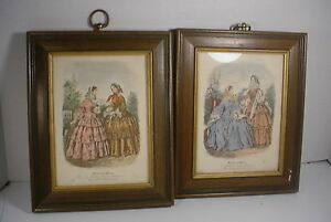 2 vintage framed french fashion prints miroir des modes ebay for Miroir des modes value