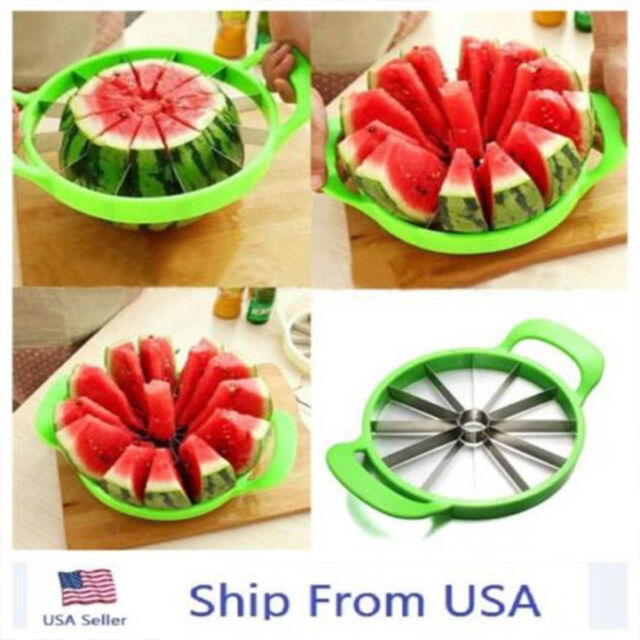 Kitchen Tool Fruit Watermelon Cutter Slicer Melon Cantaloupe Stainless Steel OU