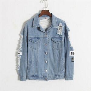 127b78b2f Details about Women Retro Classic Frayed Letter Patch Bomber Jacket Light  Blue Denim Coat