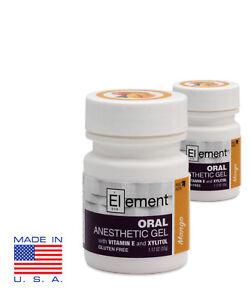2 JARS ELEMENT 20% Benzocaine Topical Anesthetic Gel MANGO FLAVOR 1oz Jars 817138020387