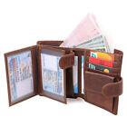 Men's Multifunction Vintage Genuine Leather RFID Bifold Wallet with Coin Pocket