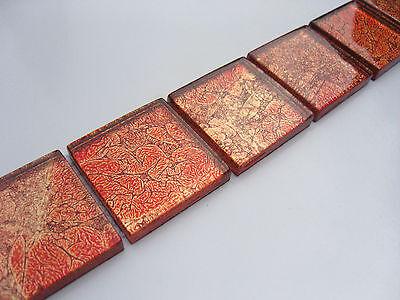 4,8x30 Bordüre glas fliesen mosaik rot 10k  metalleffekt  mosaik glasmosaik