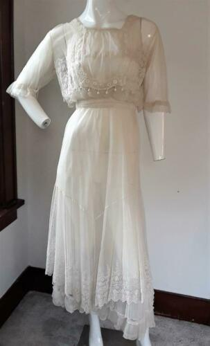 Antique Edwardian Net Crochet Embroidered Tea Dres