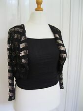 New sz 16 Top Shop Gold & Black Sequin Stripe Bolero Trophy Jacket