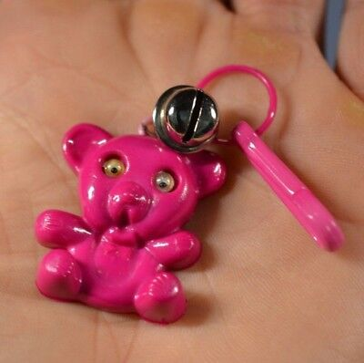Vintage 80/'s Plastic Charm Bell clip Necklace white Teddy Bear Google Eyes