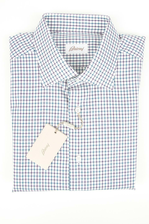 Brioni Weiß lila Grün Grid Plaid 100% Cotton Spread Collar Dress Shirt 15 L