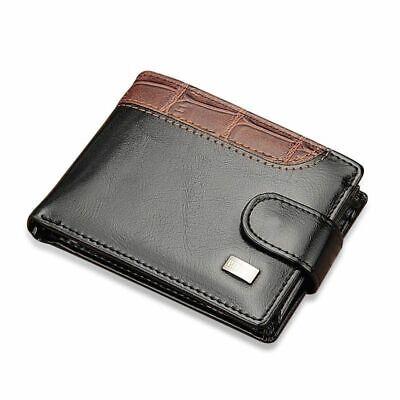 USA Men Leather Bifold Purse Vintage ID Credit Card Holder Clutch Short Wallet