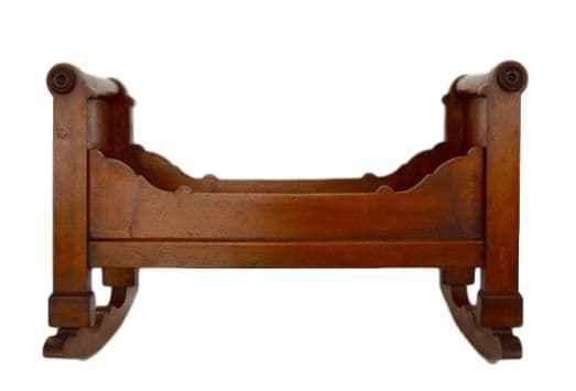 Antiguo Francés Grande de Madera en Miniatura Bebé Muñeca Muebles mecedora cama-década de 1830