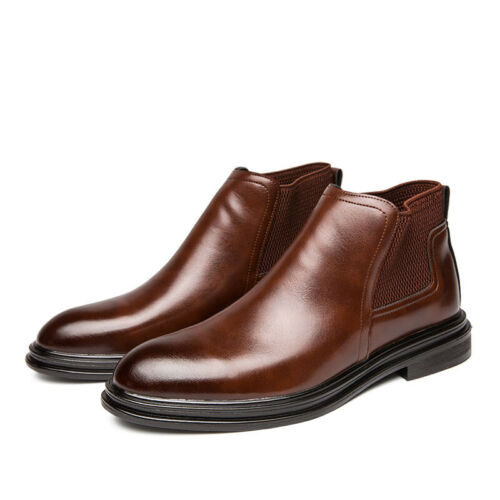 Mens Leather Ankle Chelsea Boots Shoes Slip on Work Business Pointy Toe Casual