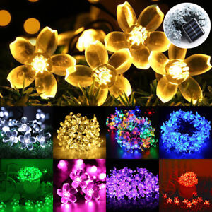 50-LED-Solar-Powered-Fairy-String-Flower-Lights-Outdoor-Garden-Wedding-Xmas-AU