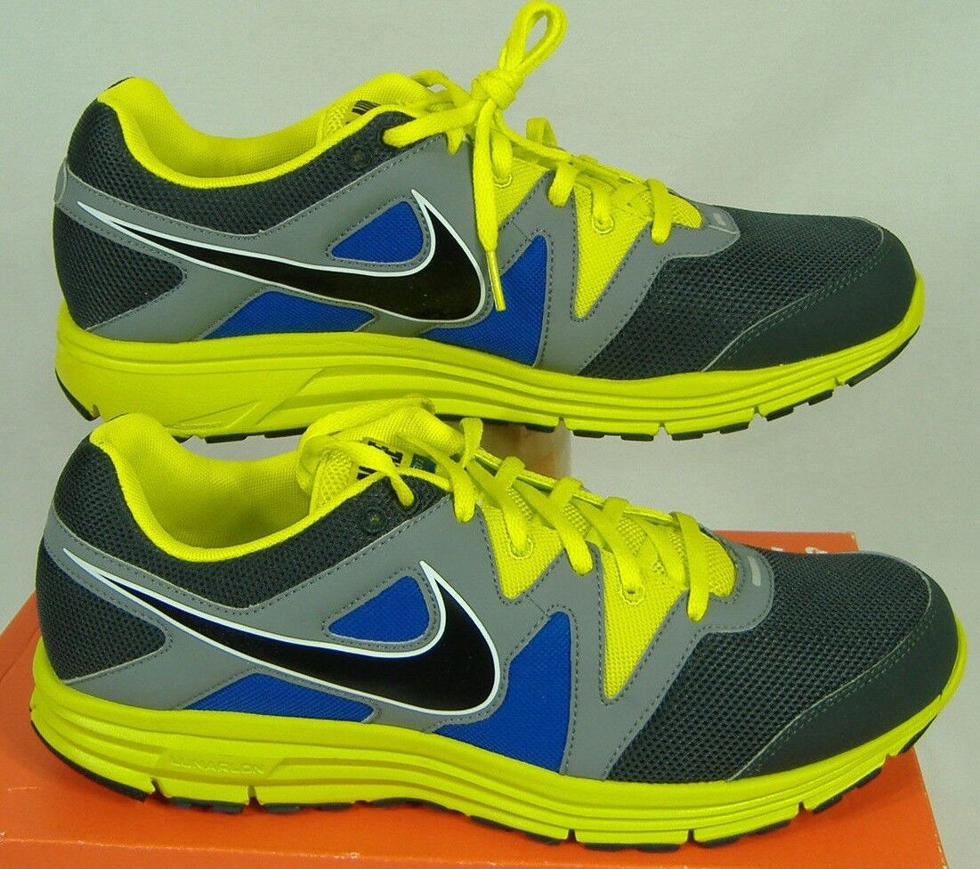 New Mens 13 NIKE LunarFly 3 Grey Blue Fluoro Green Running Shoes Price reduction