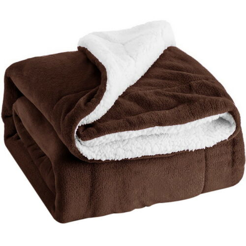 UK New Flannel Throws Sherpa Fleece Double Blanket Large Warm Soft Sofa Bed King