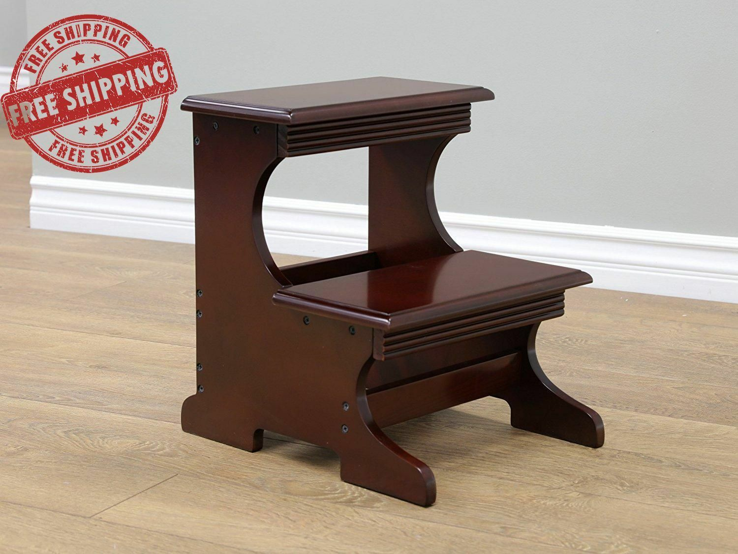 Details About Wooden Step Stool Furniture Decor Home Kitchen Wood Stepping Stools Decorations