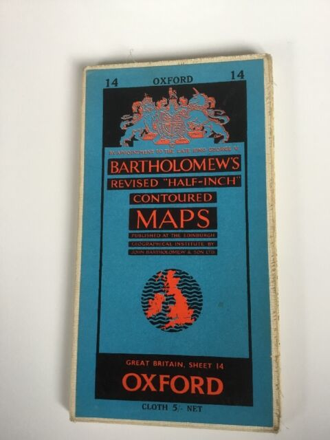 1961 Bartholomew's Revised Half Inch Contoured Cloth Map Sheet 14 Oxford