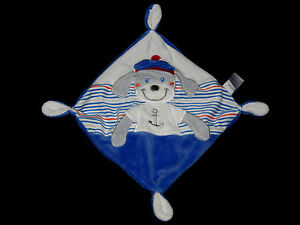 Doudou-carre-plat-bleu-blanc-gris-raye-Chien-Marin-brode-Tex-Baby-Carrefour