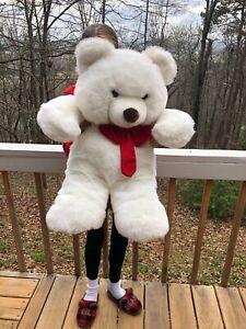 "Commonwealth Plush Bear Large 27"" Stuffed Jumbo White Hearts Paws Big Giant Huge"