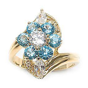 Bague Fleur T60 Diamant Topaze Turquoise Cz 13mm Plaqué Or 18K Dolly-Bijoux